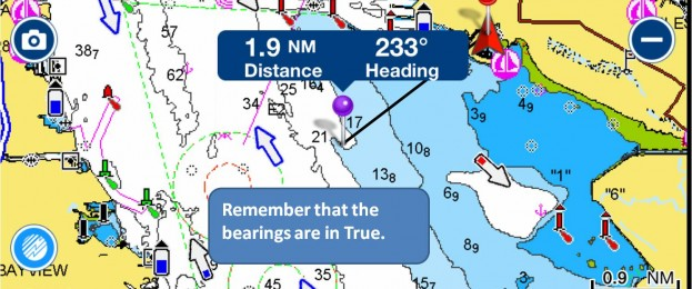 Navionics chart plotter app: Using the ruler function